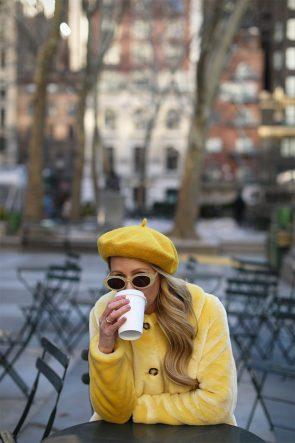 Atlantic-Pacific Blair Eadie Yellow Outfit Faux Fur