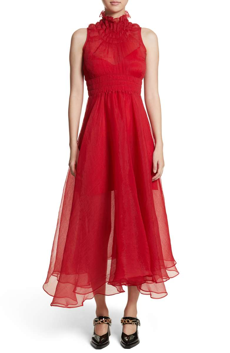 chiffon red dress