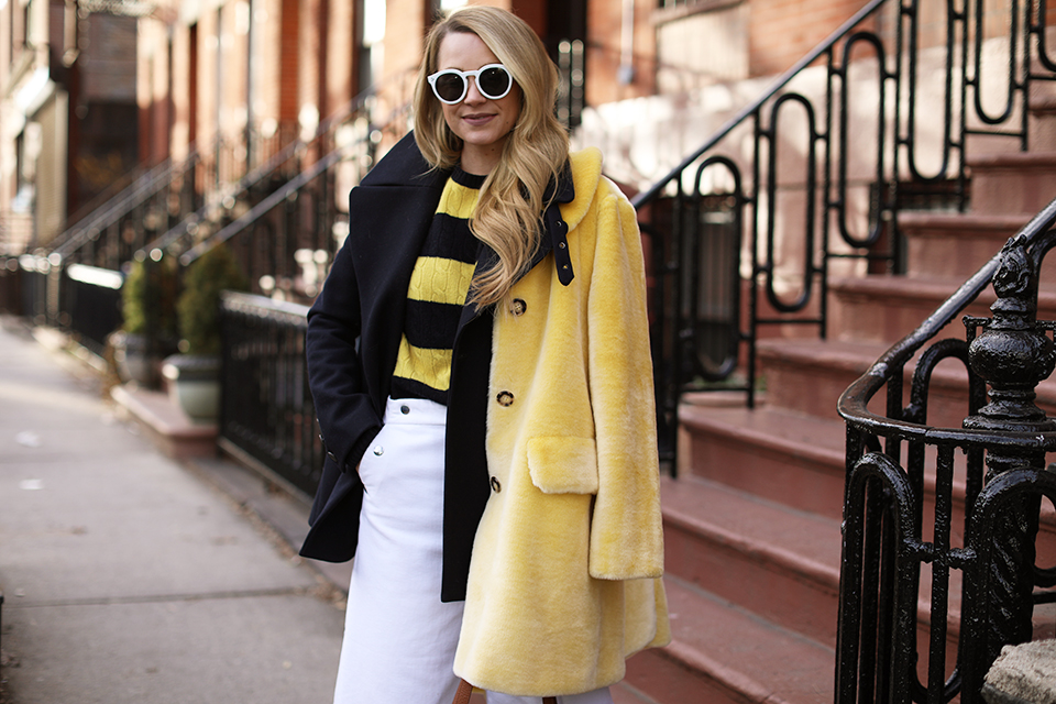 Atlantic-Pacific Stripe sweater and faux fur coat