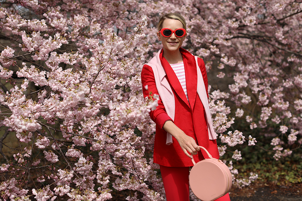 Atlantic Pacific Cherry Blossoms Central Park Red Suit