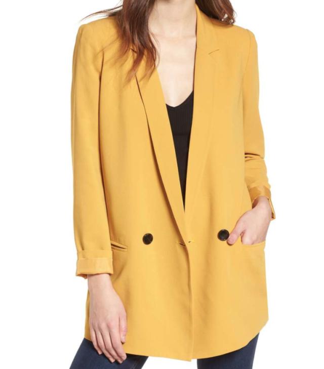 oversized yellow blazer