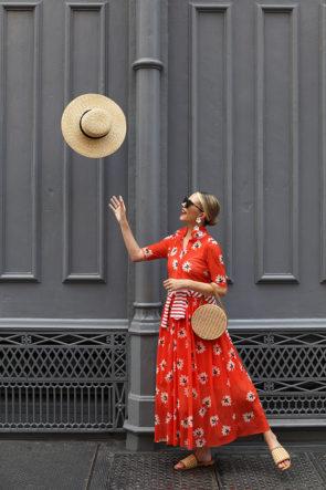 Ganni Red Floral Dress