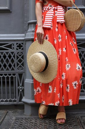 Ganni Red Floral Dress