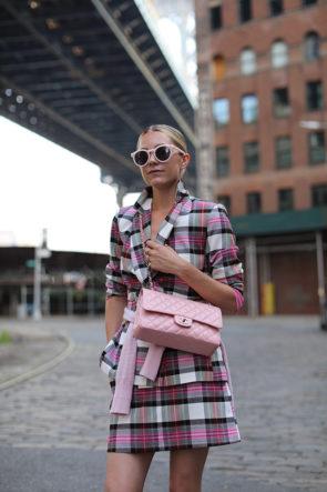 pink plaid suit