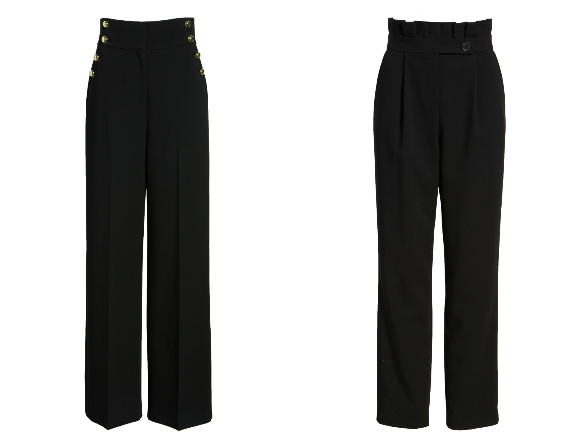 772063ca93 THE BLACK PANTS // $99 (wide leg) $89 (ankle pant) // The sailor pants are  high waisted, with a wide leg, and run true to size! The paperbag pant is  cut to ...