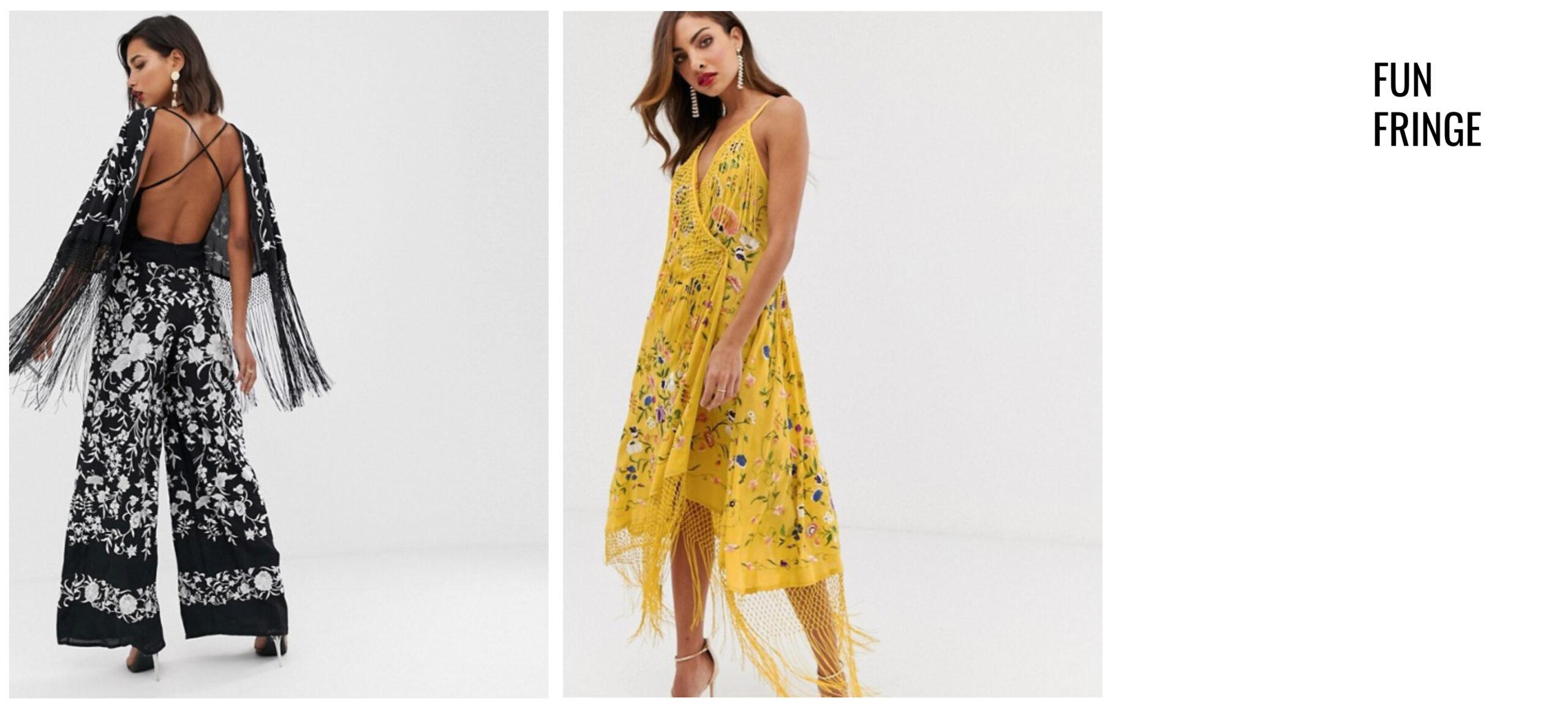 e525640c3b9b Black Fringe Jumpsuit // Yellow Fringe Wrap Dress