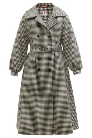 Checked Wool Tweed Trench Coat