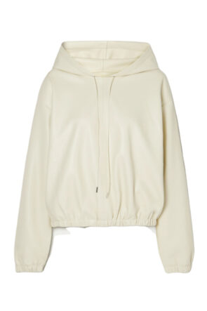 Ivory Faux Leather Hoodie